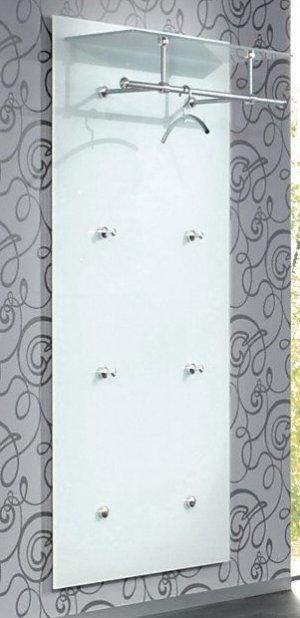 garderoben wandpaneele aus robustem glas mit 4 mantelhaken und garderobenstange mit hutablage. Black Bedroom Furniture Sets. Home Design Ideas