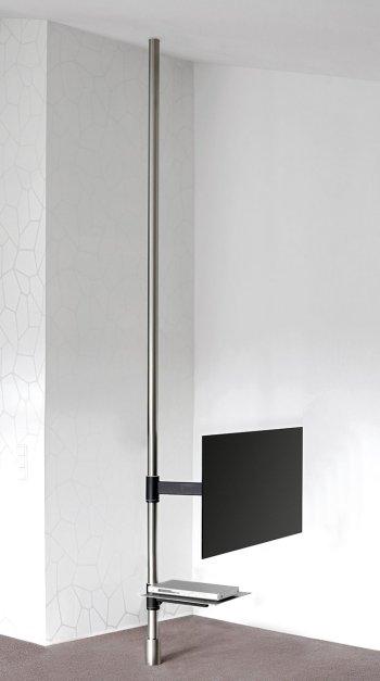 besonders stabile edelstahlstange vom boden bis zur decke als halterung f r flachbildschirme. Black Bedroom Furniture Sets. Home Design Ideas